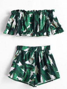 b960a28e8175ae 20% OFF  2019 ZAFUL Leaf Print Crop Top And Shorts Matching Set In ...