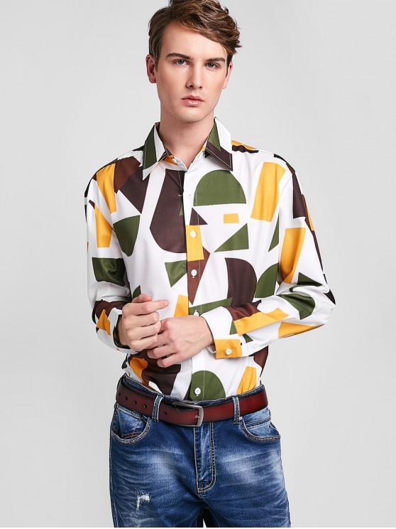 trendy ZAFUL Color Block Geometric Print Shirt - MULTI XL