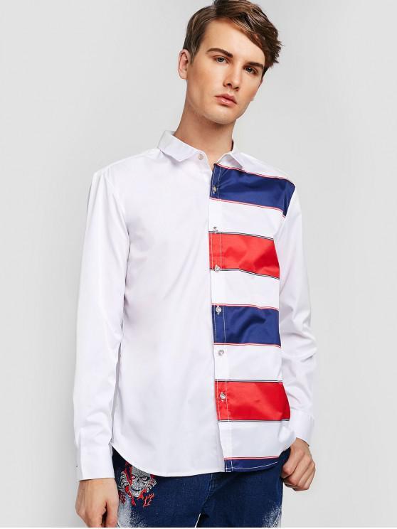 Camicia Di ZAFUL Con Stampa Righe A Blocchi Di Colore - Bianca S