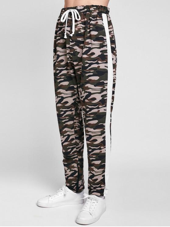 chic Side Stripe Hem Zipper Camo Drawstring Track Pants - WHITE S
