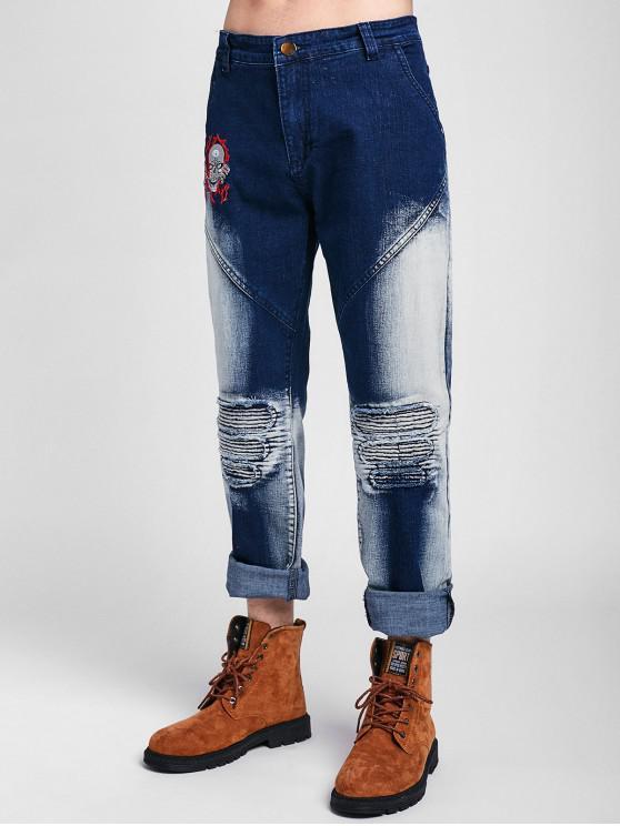 Gefaltete Jeans mit Totenkopfstickerei - Denim Dunkelblau 42
