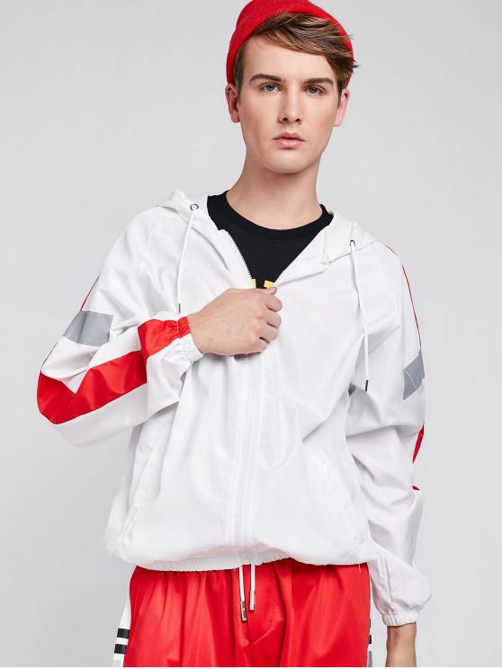 fancy Side Reflective Stripe Patchwork Jacket - WHITE L