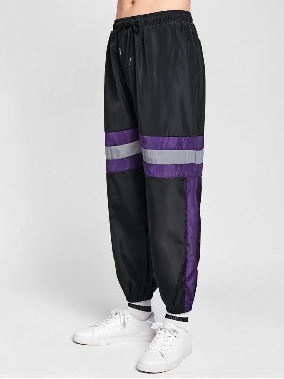 Pantaloni Da Jogging A Righe A Contrasto - Nero 2XL