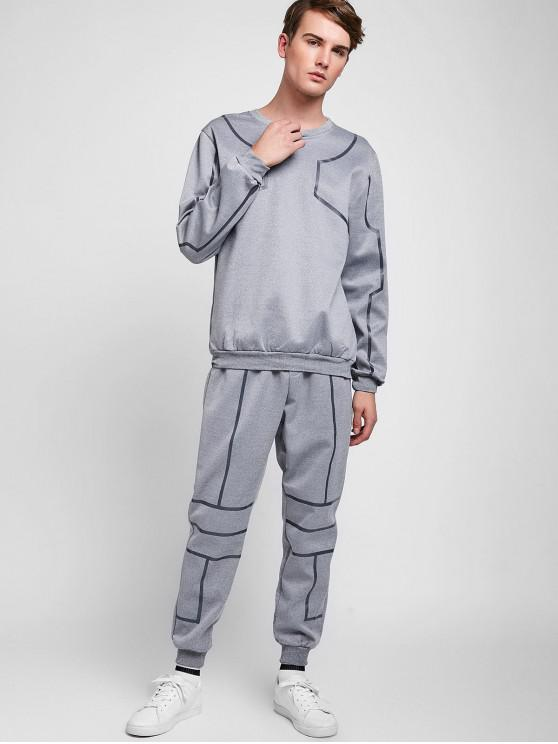 latest Solid Lines Sports Sweatshirt Pants Suit - LIGHT GRAY S
