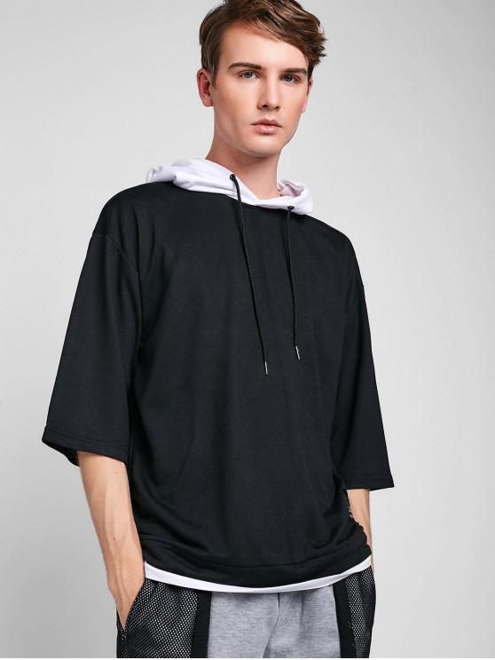 buy Colorblock Patchwork Half Sleeve Hoodie - BLACK XS