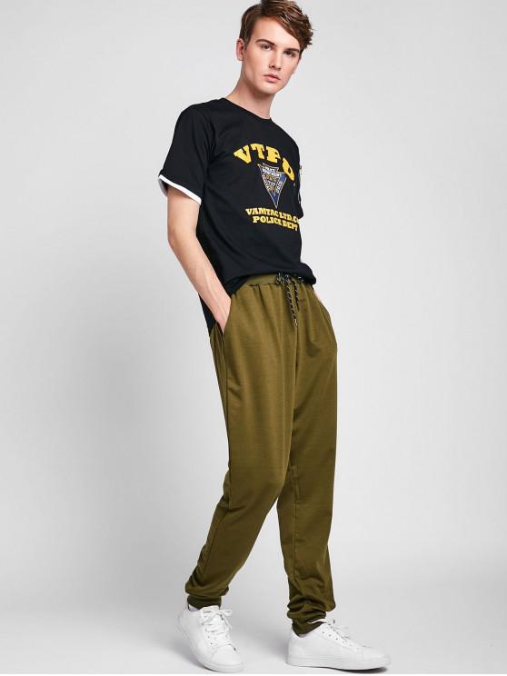 Lettre shirt Imprimé Zippé Avec T PocheNoir L 8wP0Okn