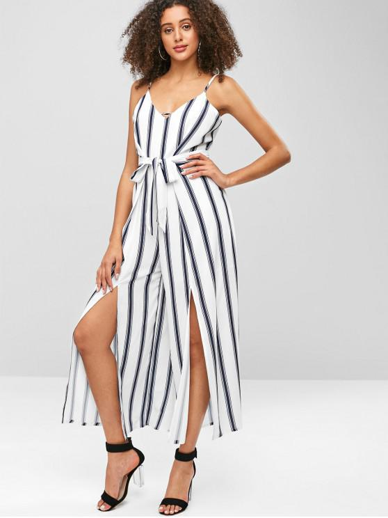 outfits Striped Slit Wide Leg Jumpsuit - WHITE M