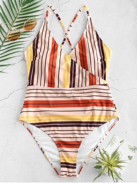 new ZAFUL Colorful Striped Cami Lace Up Swimsuit - MULTI-A L