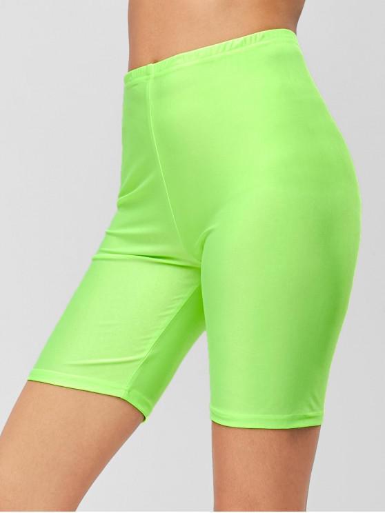 unique ZAFUL Neon Skinny Plain Biker Shorts - GREEN M
