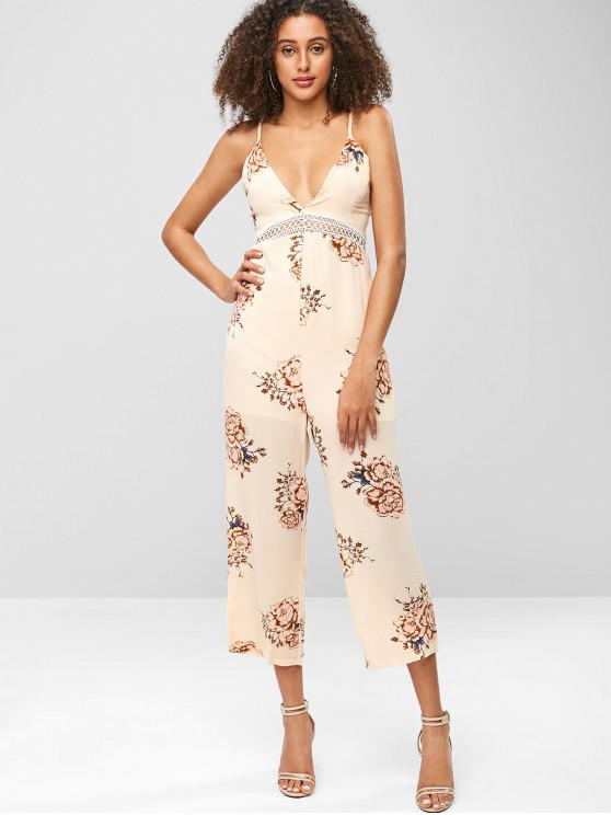 25baa5f975d 30% OFF  2019 Bohemian Flower Tied Back Cami Jumpsuit In APRICOT