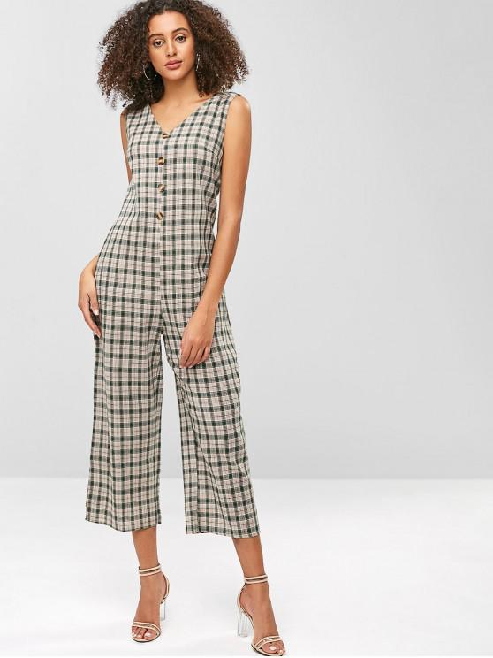 1d44895535 32% OFF  2019 Plaid Wide Leg Sleeveless Jumpsuit In MULTI