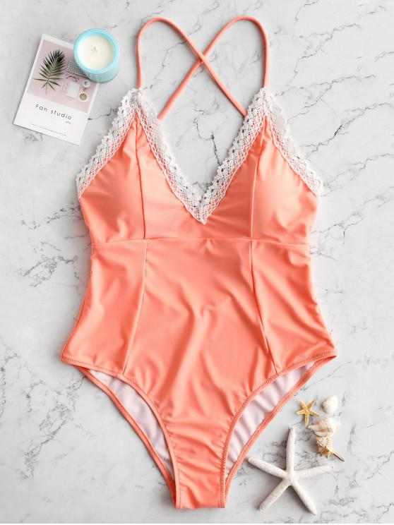 chic ZAFUL Laced Criss Cross One-piece Swimsuit - APRICOT M