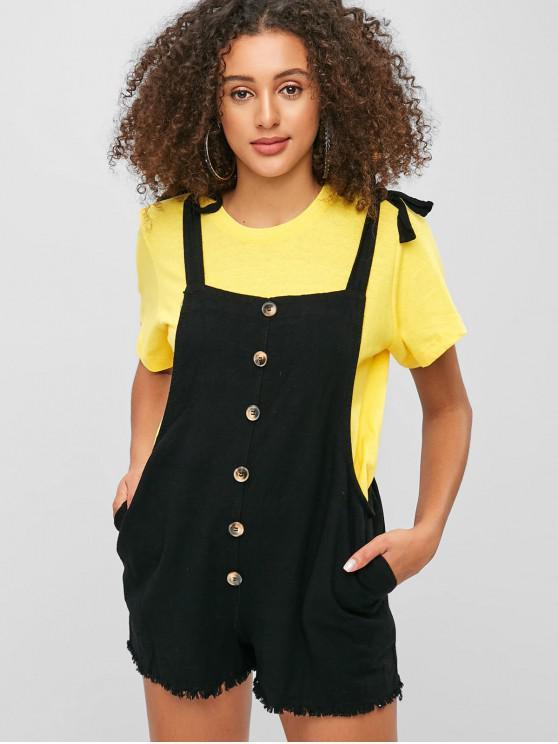 fashion Button Embellished Frayed Hem Pinafore Romper - BLACK L