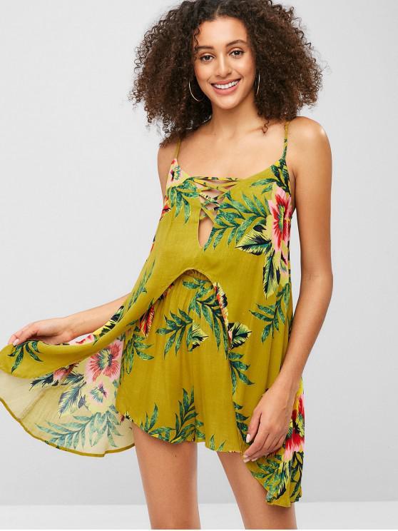 women ZAFUL Criss Cross Floral Print Loose Cami Romper - GINGER BROWN S