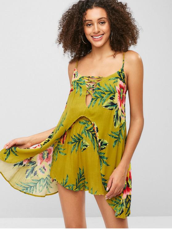 best ZAFUL Criss Cross Floral Print Loose Cami Romper - GINGER BROWN XL
