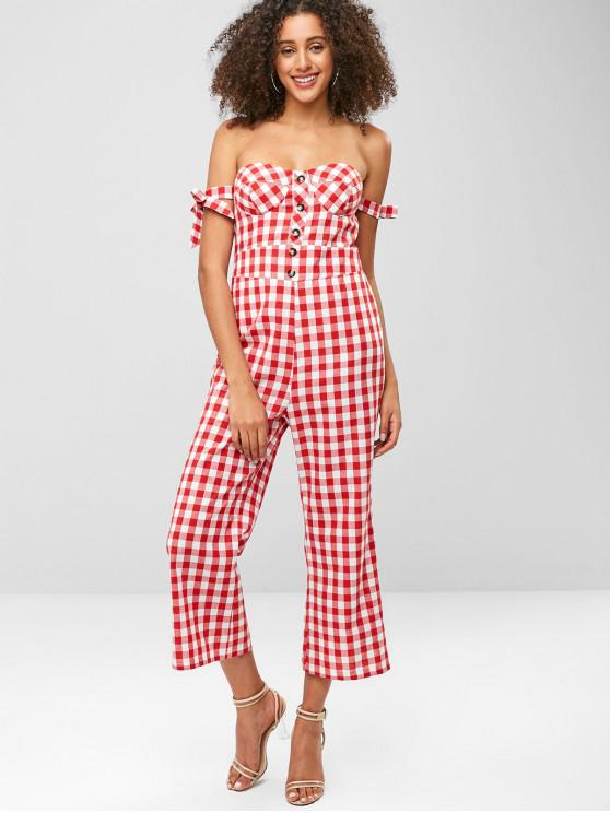 best ZAFUL Buttoned Plaid Knotted Off Shoulder Jumpsuit - RED M
