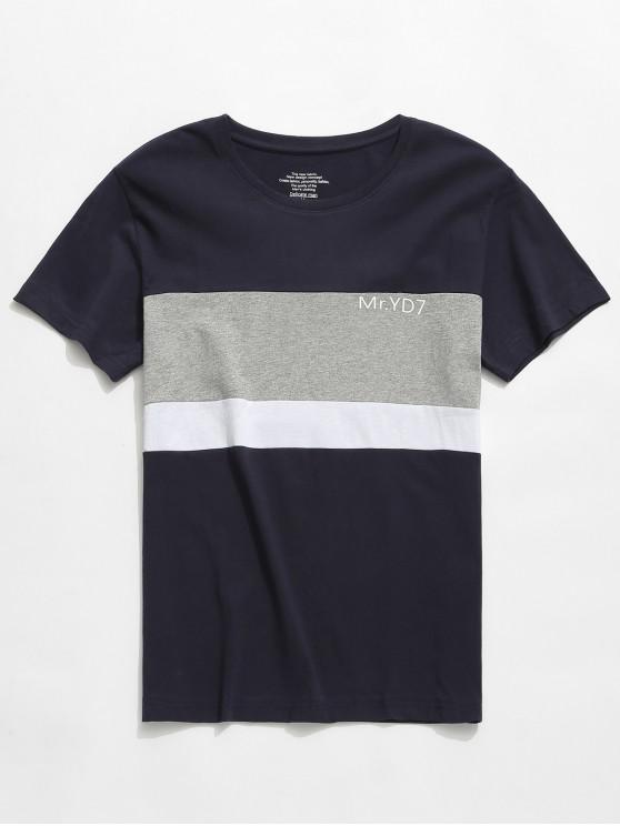 women Letters Print Color Block Casual T-shirt - MULTI-D M