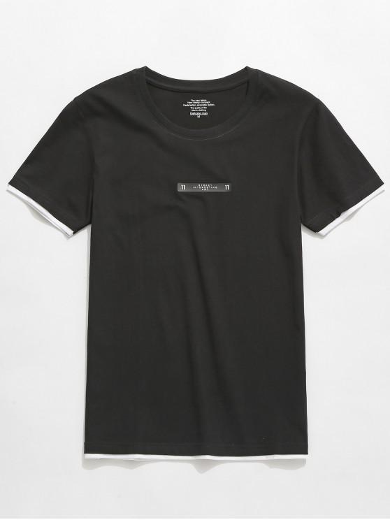 trendy Letters Graphic Print Short Sleeves T-shirt - BLACK L