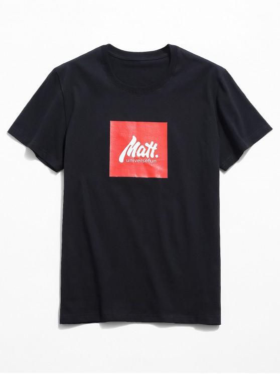 shop Letters Print Graphic Casual T-shirt - BLACK L