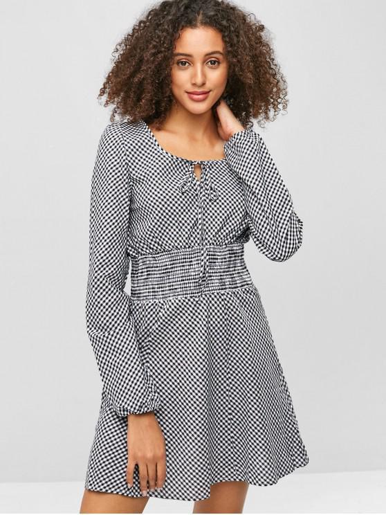 women Plaid Smocked Mini Dress - GRAY L