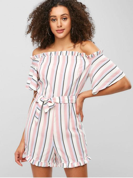 affordable ZAFUL Stripes Off Shoulder Ruffles Romper - MULTI M