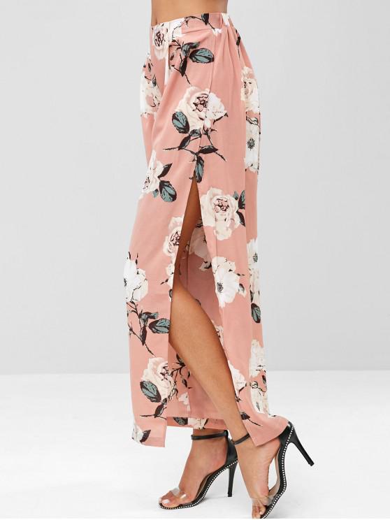 shops Floral High Slit Wide Leg Pants - FLAMINGO PINK M