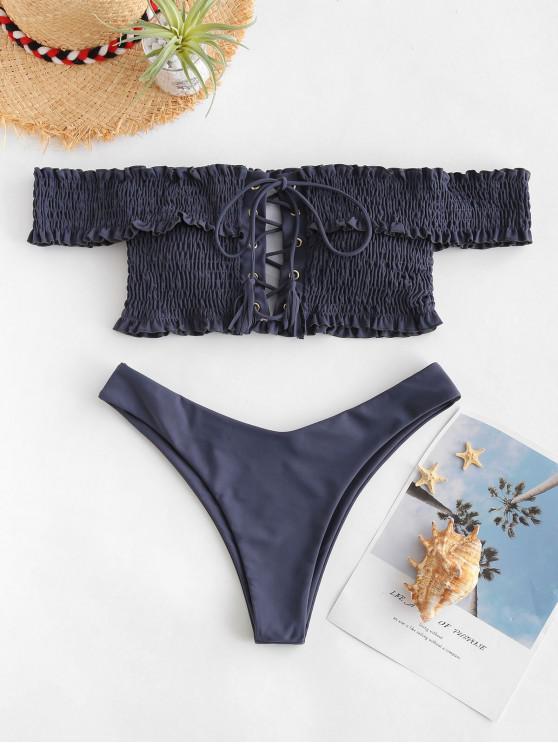 latest ZAFUL Shirred Lace-up Bardot Bikini Set - SLATE GRAY L