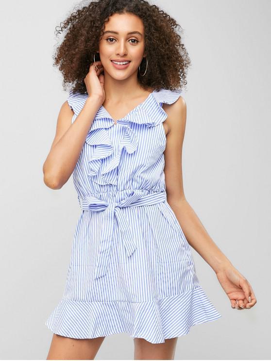 women Striped Ruffle Belted Mini Dress - SKY BLUE M