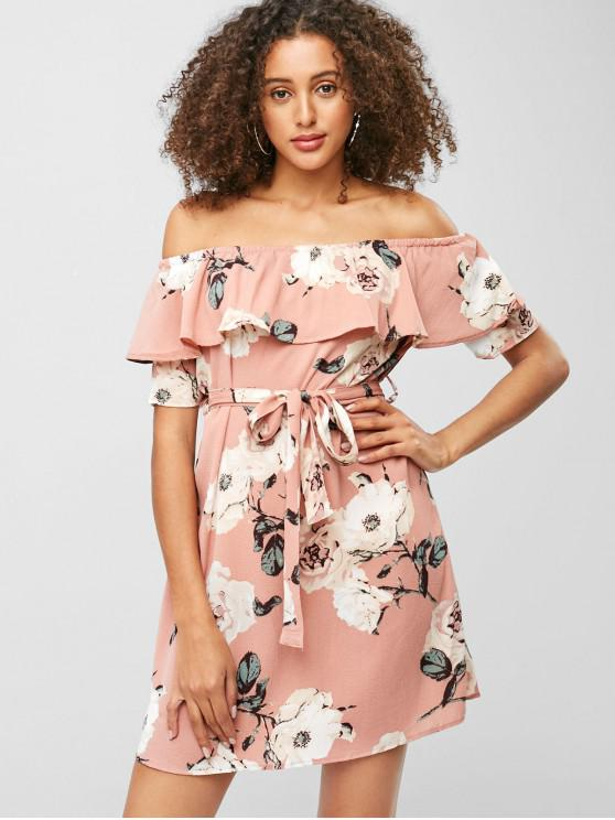latest Floral Flounce Belted Mini Dress - FLAMINGO PINK M