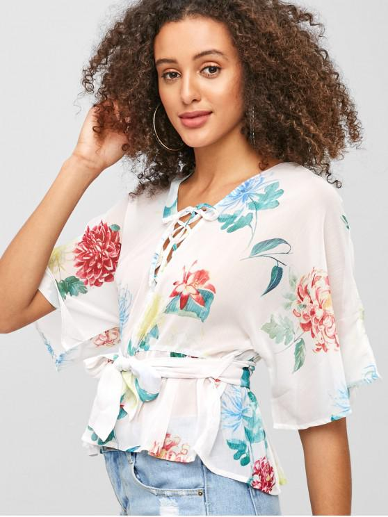 women Floral Lace Up Peplum Blouse - WHITE L