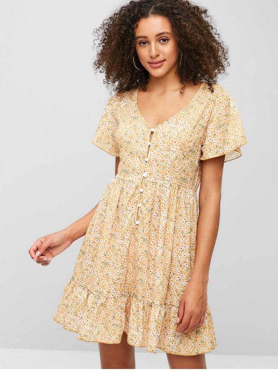women's ZAFUL Ruffles Half Buttoned Floral Mini Dress - BEE YELLOW L