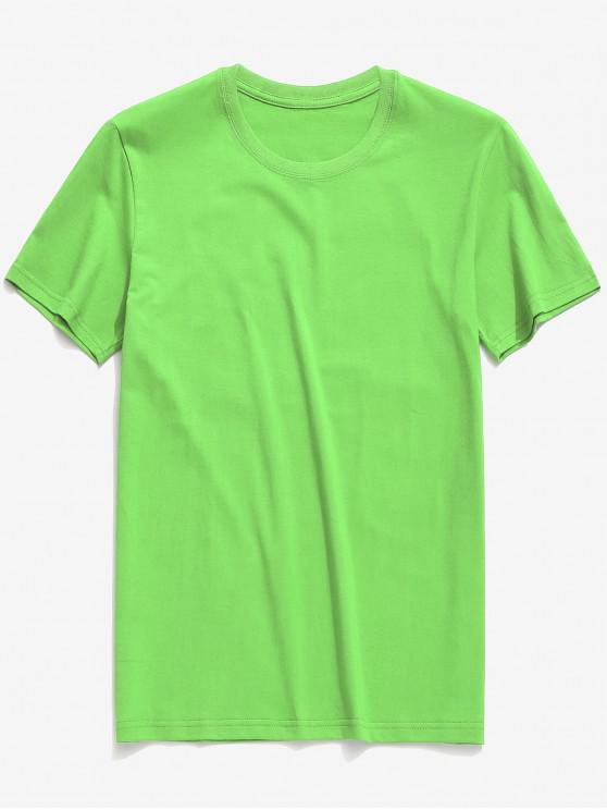 shop Round Neck Solid Color Casual T-shirt - YELLOW GREEN L