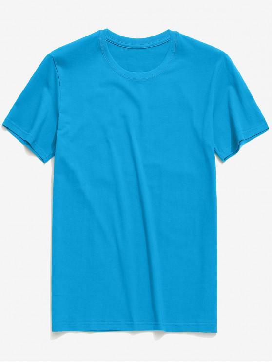 ladies Round Neck Solid Color Casual T-shirt - DODGER BLUE L