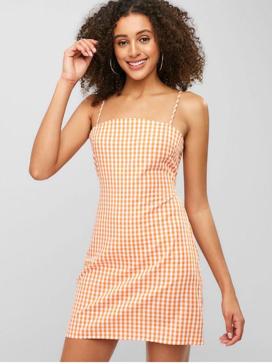 best Plaid Tie Back Cami Dress - DEEP PEACH L