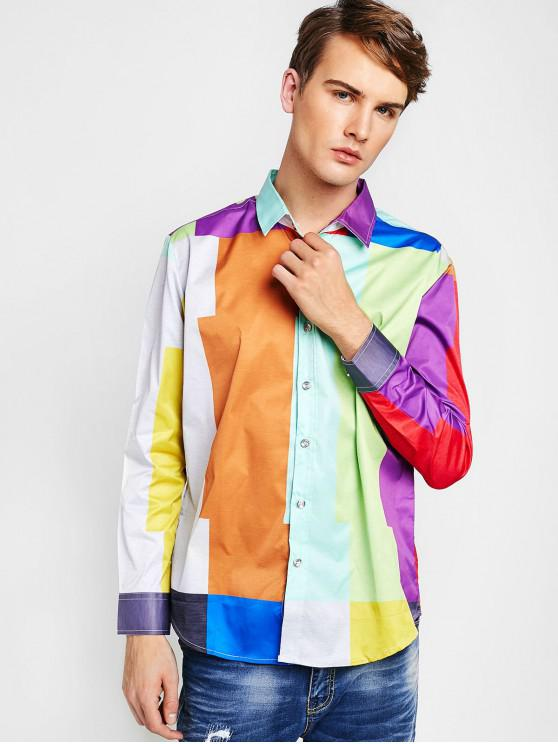 chic ZAFUL Color Block Button Up Shirt - MULTI S