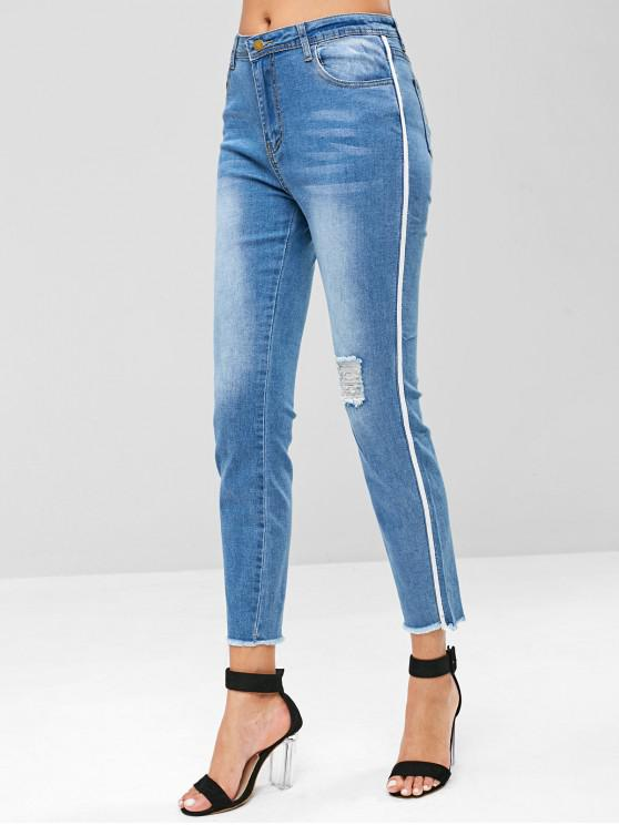 outfit Side Striped Ripped Jeans - DENIM BLUE L