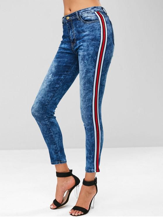 latest Side Striped Acid Wash Jeans - BLUE XL