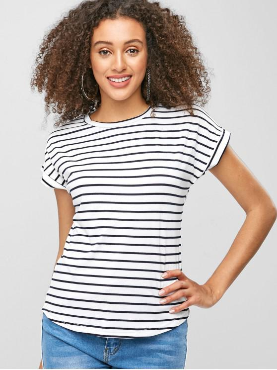 Camiseta listrada de manga curta - Branco L