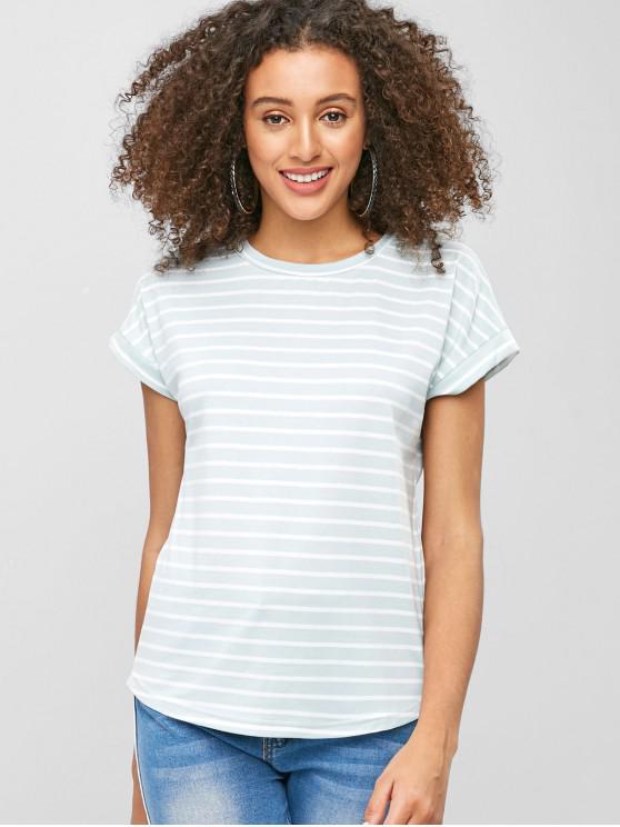 Camiseta listrada de manga curta - Azul Claro M