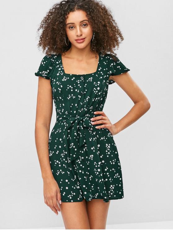 affordable Flower Button Up Cap Sleeve Mini Dress - DEEP GREEN M