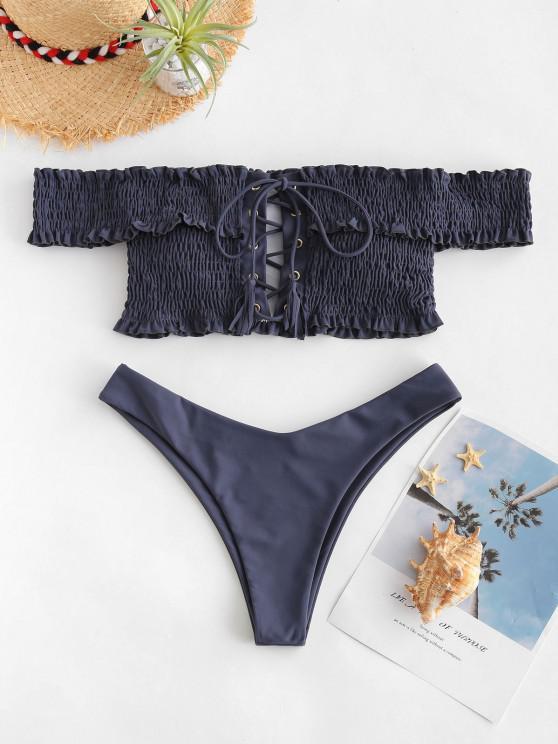 shop ZAFUL Shirred Lace-up Bardot Bikini Set - SLATE GRAY S