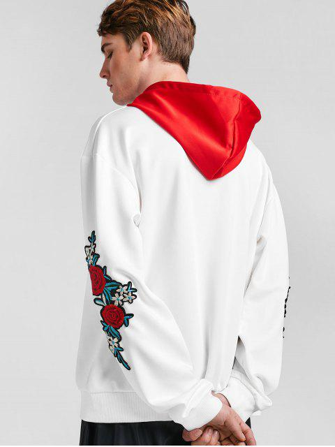 best ZAFUL Embroidery Applique Sleeve Drawstring Hoodie - LOVE RED 2XL Mobile