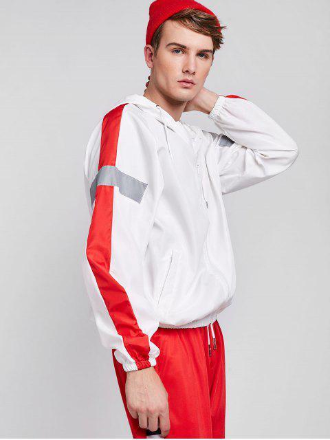 Veste Patchwork Réfléchissante Rayée à Côté - Blanc XL Mobile