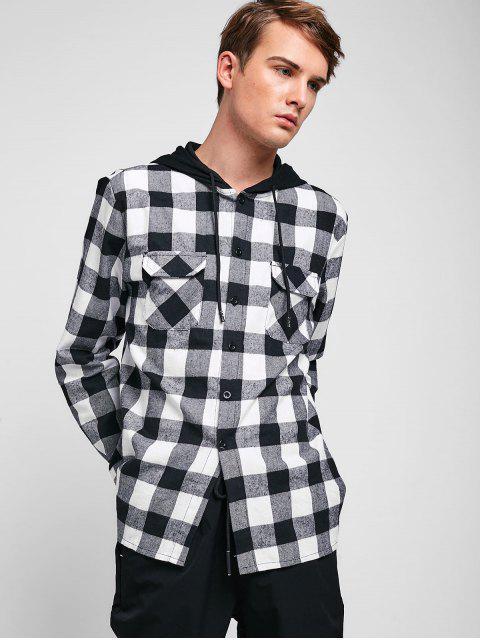 Chemise à Carreaux à Capuche avec Poche Poitrine - Blanc 2XL Mobile