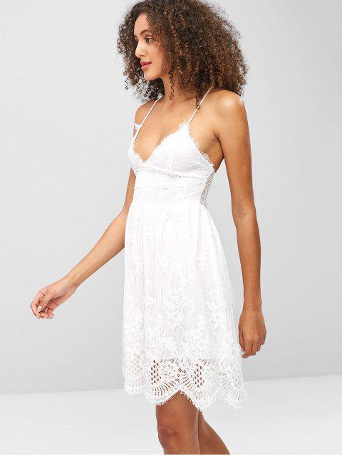 affordable Lace Criss Cross Cami Dress - WHITE M Mobile