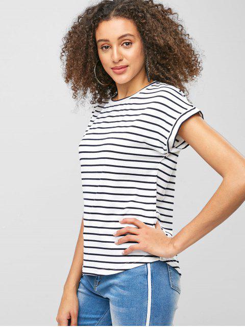 Camiseta a rayas de manga corta - Blanco L Mobile