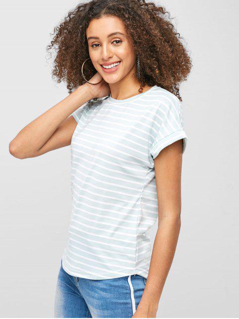 Camiseta a rayas de manga corta - Azul Claro S Mobile