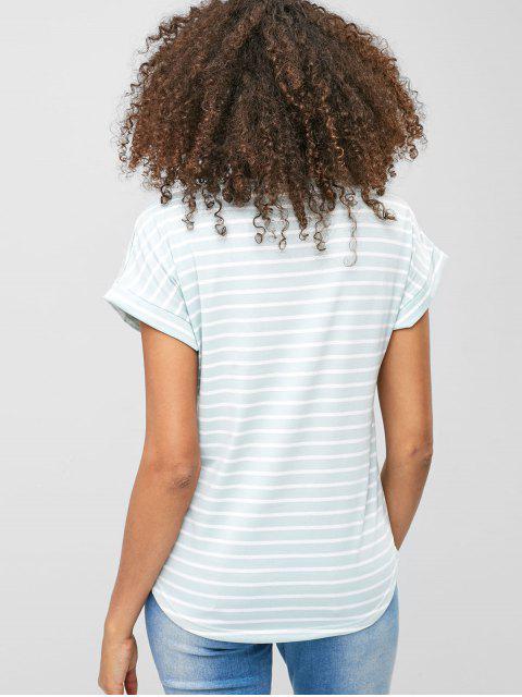 Camiseta a rayas de manga corta - Azul Claro L Mobile
