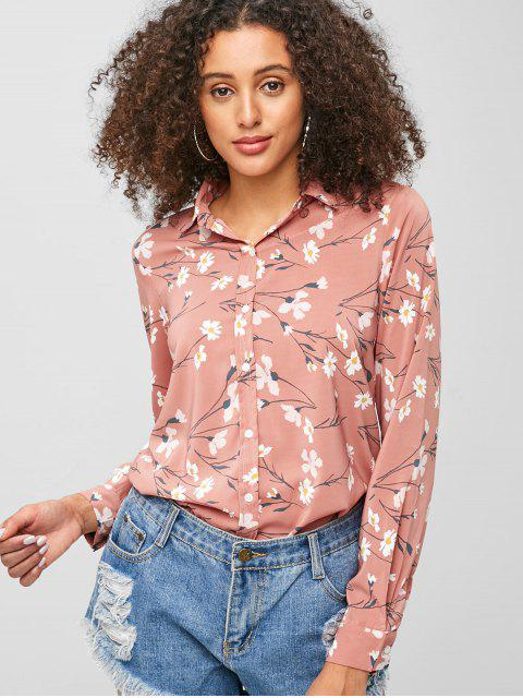 trendy Floral Button Up Shirt - PINK S Mobile