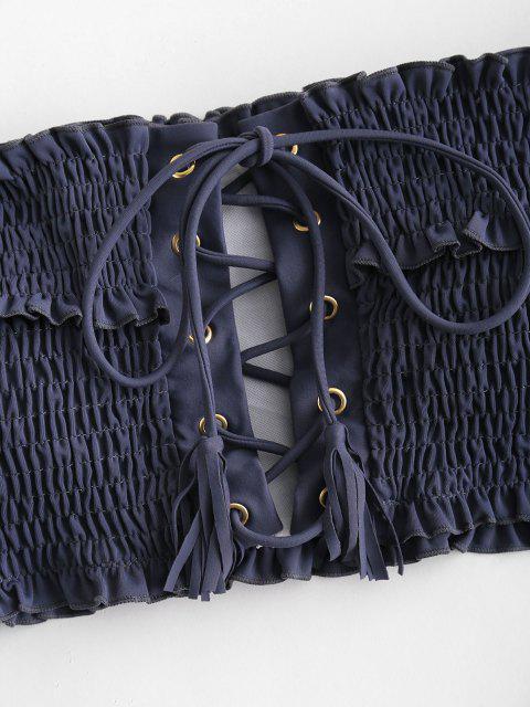 Bikini Increspato Con Lacci A Spalle Scoperte Di ZAFUL - Grigio Ardesia S Mobile